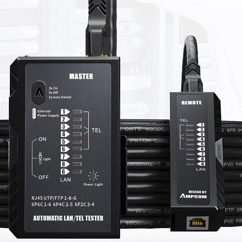 Ampcom cabo de rede testador rj45 rj11