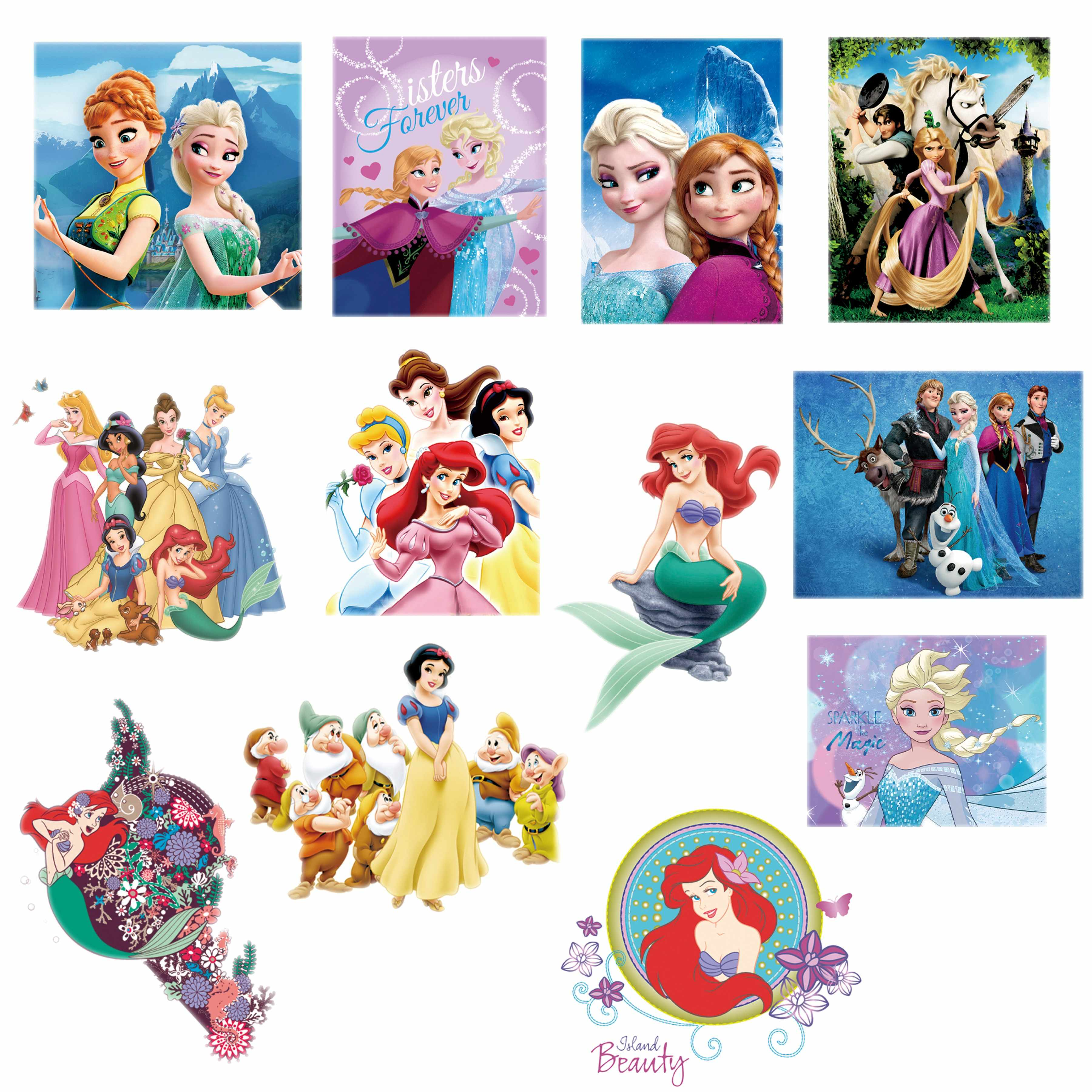 1Pcs Cartoon Prinses Elsa Anna Mermaid Ariel Ijzer Op Patches voor Kleding Heat Transfers stickers Wasbare Applique DIY Patches