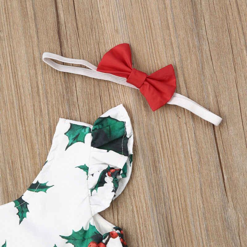 3 قطعة الوليد طفل رضيع فتاة عيد الميلاد الملابس مجموعات الكشكشة كم الأزهار طباعة تي شيرت بلايز + السراويل السراويل وتتسابق