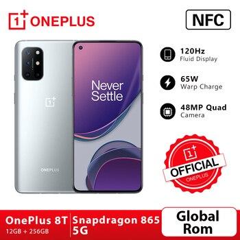 Перейти на Алиэкспресс и купить Новое поступление OnePlus 8 T 8 T Snapdragon 865 5G смартфон 12 Гб 256 ГБ 120 Гц жидкокристаллический дисплей 48MP Quad Cams 65W Warp Charge 4500mAh