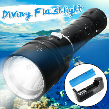 50000LM T6 L2 LED Diving Flashlight Underwater 100M Scuba Torch Lamp With Charger For Outdoor Camping Hiking outdoor cycling underwater scuba diving 5led 5000lm xml t6 scuba diving flashlight torch lamp for spearfishing