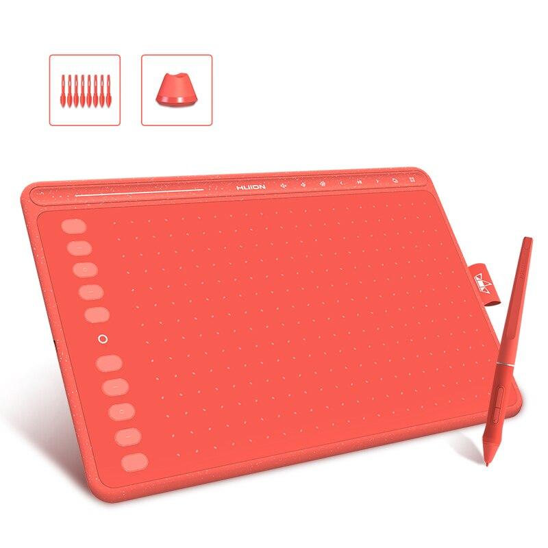 Huion 3 cores hs611 tablet gráfico caneta digital comprimidos de desenho multimídia chaves barra de mídia bateria-livre caneta com função de inclinação