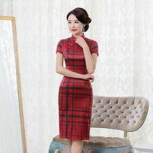 Новое клетчатое шелковое платье Ципао с вышивкой в виде рифмы, короткое платье Ципао с короткими рукавами