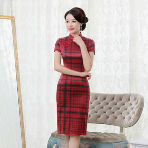 Image 1 - rhyme embroidered new plaid silk cheongsam brief paragraph improvement of mulberry silk qipao dress with short sleeves
