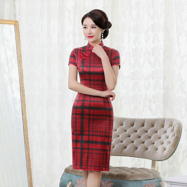 rhyme embroidered new plaid silk cheongsam brief paragraph improvement of mulberry silk qipao dress with short sleeves