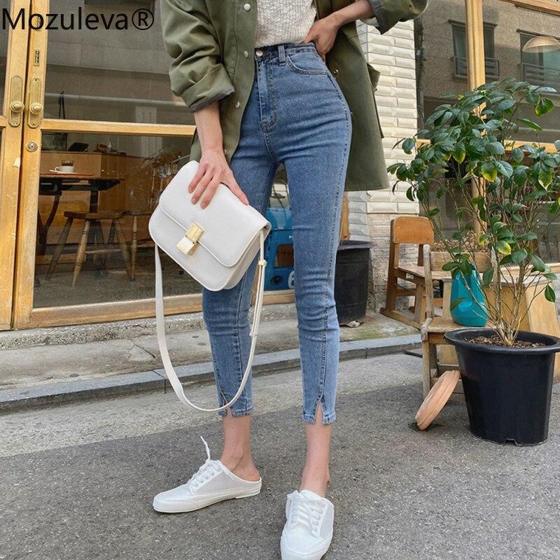 Mozuleva 2020 High Waist Stretch Skinny Women Jeans Pants Split Cuff Female Pencil Jeans Women Streetwear Denim Jeans Trousers