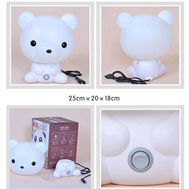 Panda/conejo/perro/oso bebé luz de noche niños dibujos animados Animal 3D lámpara niños dormitorio juguetes regalos luz ambiente decoración Dropship