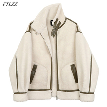 Coat Lambs Jacket Women Faux FTLZZ Thick Winter Warm Wool Collar PU Parkes-Stand Splicing
