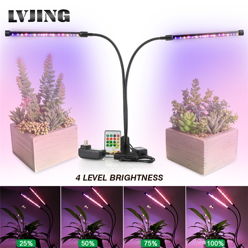 LVJING LED Plant Grow Lamp 24W Full Spectrum Led Phyto Grow Tube Light for Hydroponic Greenhouse With <font><b>Holder</b></font> Clip <font><b>Remote</b></font> Control image
