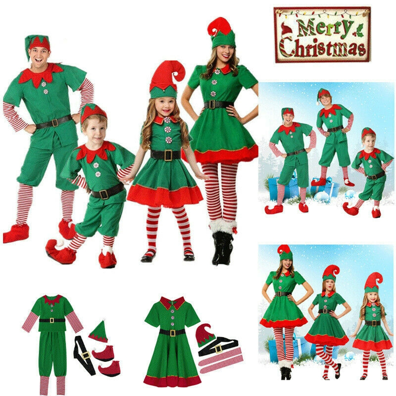 Christmas Elf Costume Party Family Christmas Role Playing Outfit Green Santa Claus Performance Clothing Fancy Dress Kids Adult