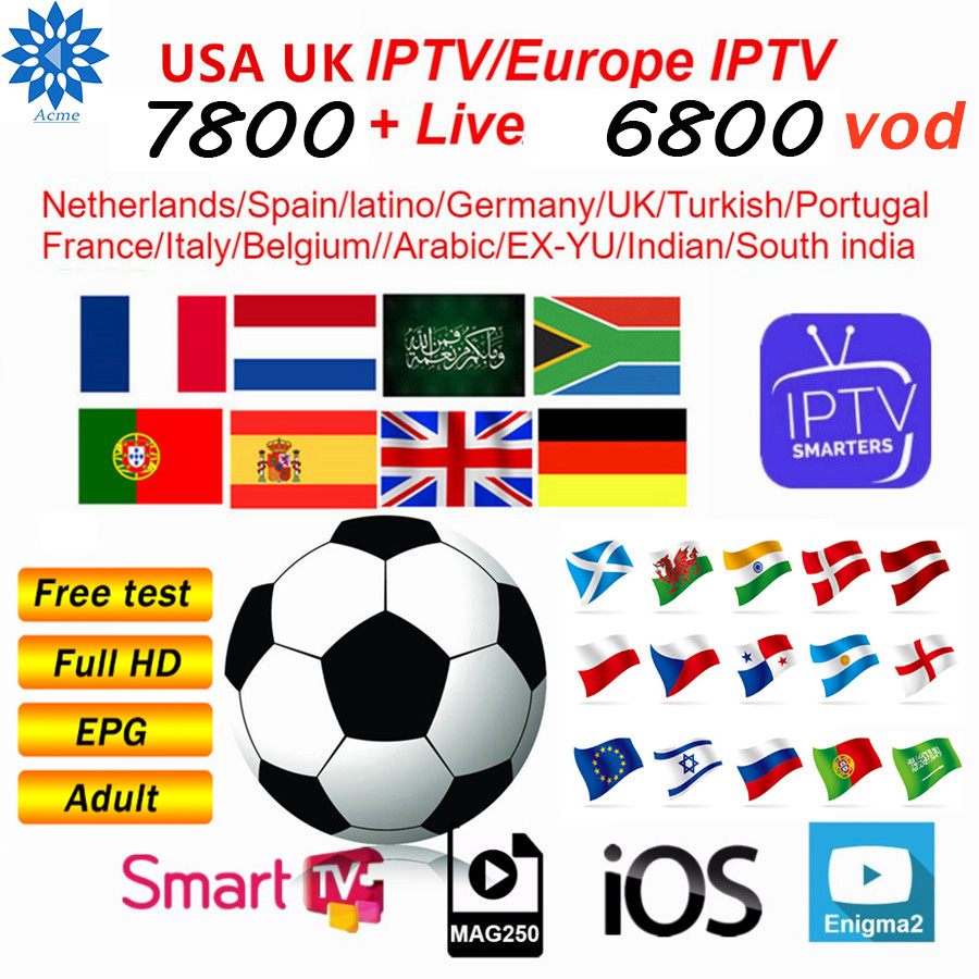 Spanish 8000+ IPTV M3u Subscription Best HD French Iptv UK German Arabic Italy VOD Premium For Android TV Box Enigma2 Free Test