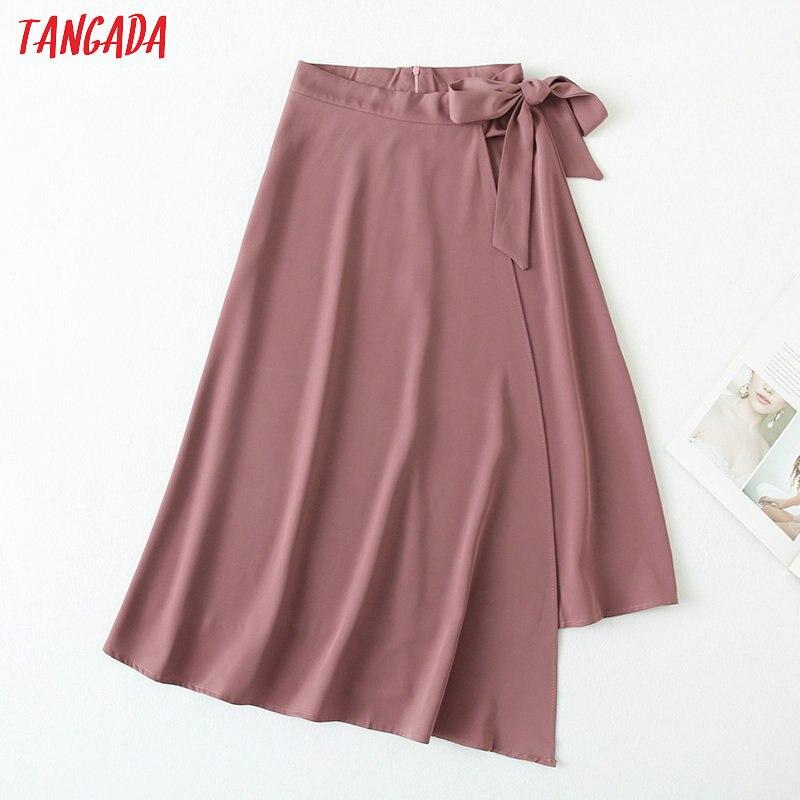 Tangada 2020 Summer Women Elegant Midi Skirt With Bow Back Zipper Office Ladies Chic Mid Calf Skirts YU77