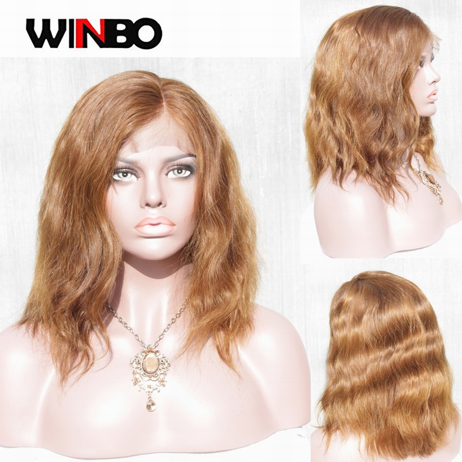 WINBO Light Brown 13x6 BOB Wavy Lace Frontal Wig Pre-plucked Brazilian Remy Hair 13x4 Lace Front Wigs