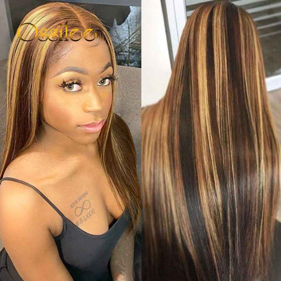 Ossilee Straight Highlight Wig 4x4 Closure Wig Piano Color 13x4 Lace Front  Wigs 4/27 Ombre  13x6 Lace Front Wig 2