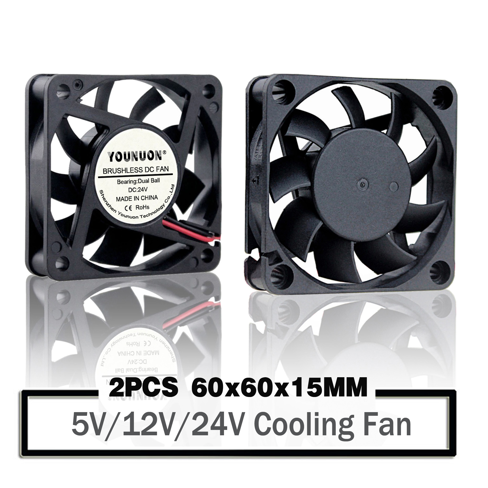 2PCS YOUNUON <font><b>60mm</b></font> 6015 <font><b>5V</b></font> 12V 24V Brushless USB 2PIN 3PIN DC Cooler <font><b>Fan</b></font> 60x60x15mm 6010 6cm For Computer PC CPU Case Cooling image