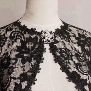 Image 5 - אלגנטי כלה מעילי ומושך בכתפיים ערב מסיבת תחרה כורכת בולרו עם סיכה לנשים מעיל
