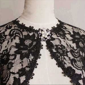 Image 5 - Elegant Bridal Jackets and Shrugs Evening Party Lace Wraps Bolero with Brooch For Women Coat