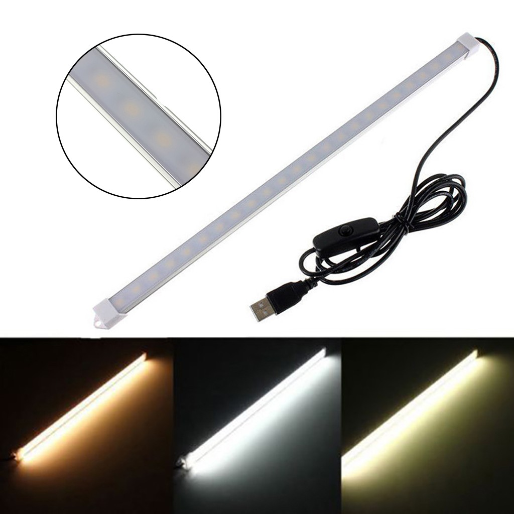 USB On/Off Switch 35CM 24leds 5V SMD 5630 LED Rigid Strip Hard Bar Tube Light  Long Life Low Power Consumption Dropship #38