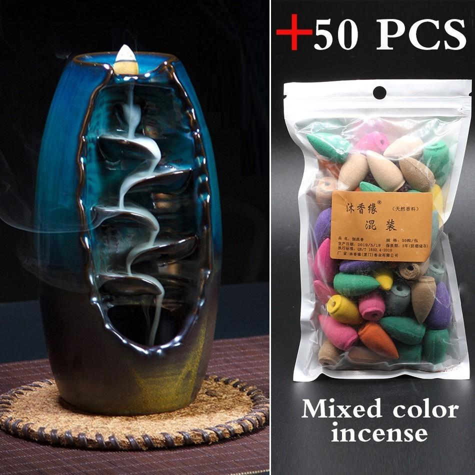 50 PCS Mountain River Handicraft Incense Holder Ceramic Backflow Waterfall Smoke Incense Burner Home Decor best Christmas gift