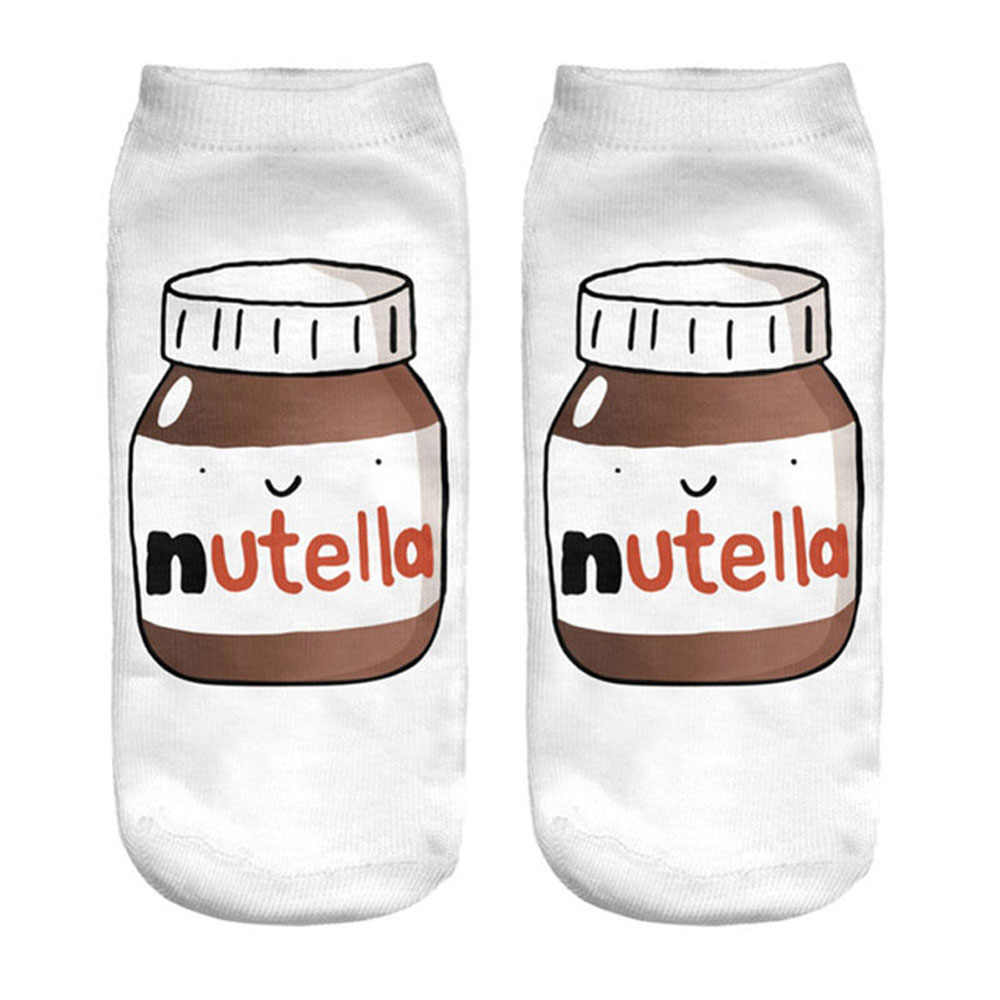 "White ""nutella"" Woman Socks Unisex Cartoon Christmas Socks Harajuku Skarpetki Damskie Winter Warm Socks Calcetines Mujer Sokken"