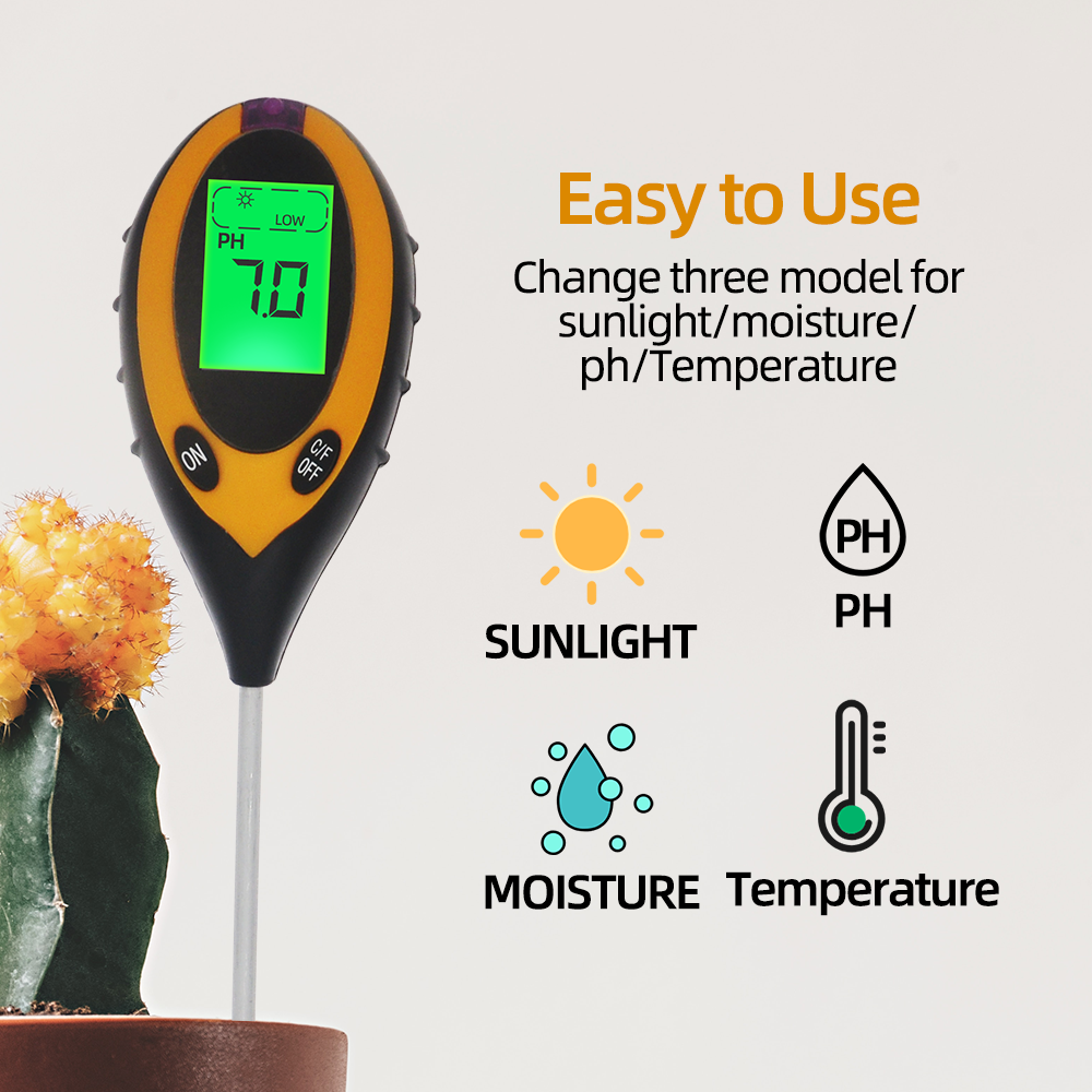 4 In 1 PH Meter Soil Tester Soil Moisture Monitor Sunlight Temp Testers Acidity Alkali Measure Tool For Gardening Plant 20% OFF