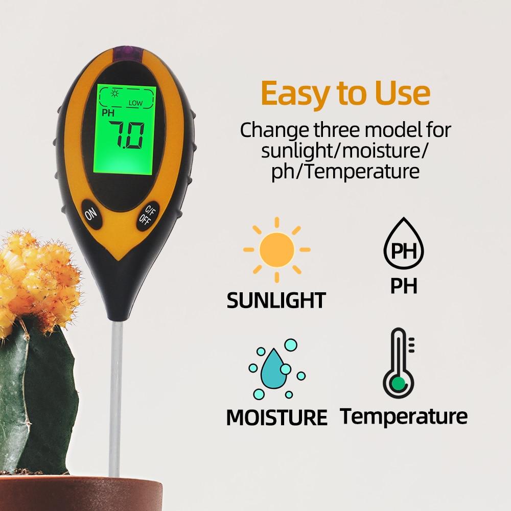 4 In 1 PH Meter Soil Tester Soil Moisture Monitor Sunlight Temp Testers Acidity Alkali Measure Tool For Gardening Plant 20% OFF