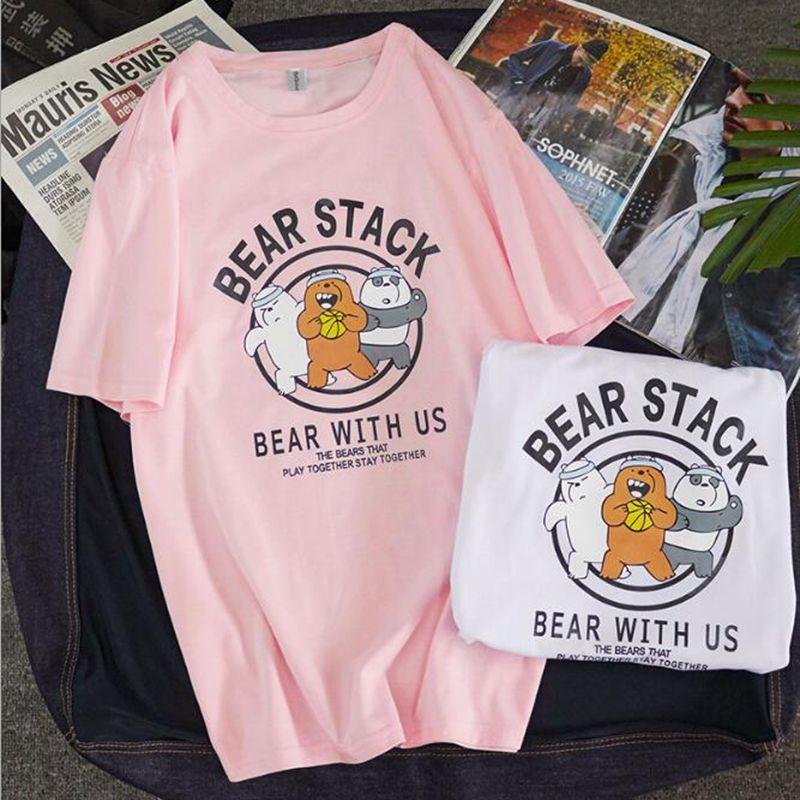 2020 Cartoon Animal Bear T-shirt Women Short Sleeve Summer Shirt Sport Bear Women Basketball Shirt Couple Shirts Top Tees