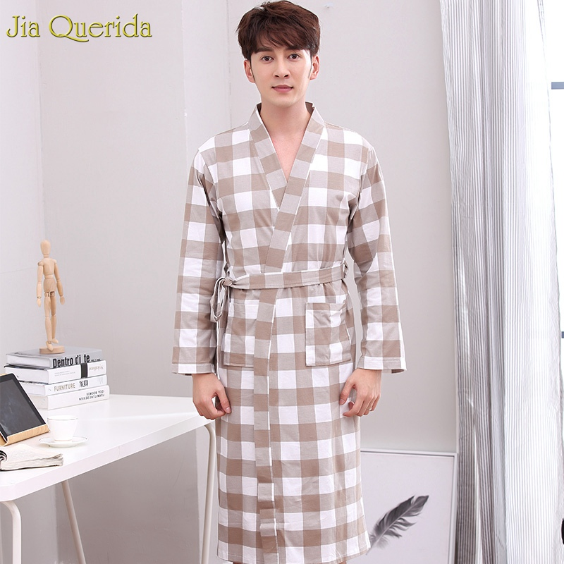 Mens Robes 100% Cotton Bathrobe Sleepwear Loose Size Brown V Collar Plaid Knitted Pocket Belt Elegant Man Fashion Robe Homewear