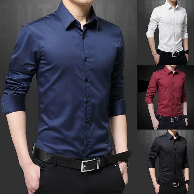 새로운 남성 셔츠 긴 소매 캐주얼 셔츠 남자 드레스 슬림 솔리드 비즈니스 드레스 셔츠 봄 가을 남성 드레스 셔츠 버튼