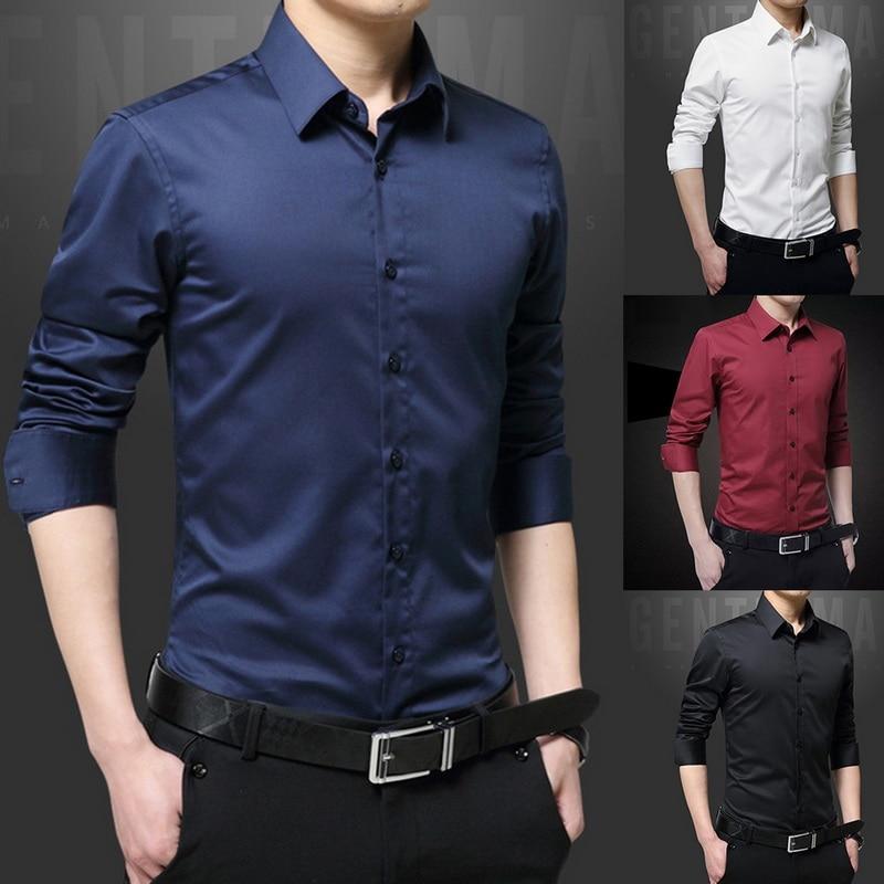 New Men's Shirt Long Sleeve Casual Shirts Men Dress Slim Solid Business Dress Shirt Spring Autumn Men's Dress Shirt With Button