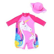 swimwear baby girl cartoon flamingo bathing suit for baby long sleeve uv protection children s swimming suit girls swimsuit kids 1-8 Years Baby Girl One-piece Swimsuit with Sun Hat Cartoon Print Children Bathing Suit Kids Full Long Sleeve Swimwear