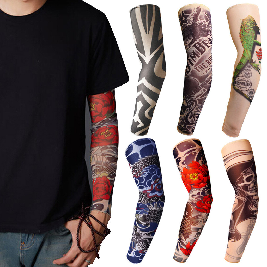 Trendy Men Women New High Elastic Fake Temporary Tattoo Sleeve Designs Summer Sunscreen Body Arm Warmers