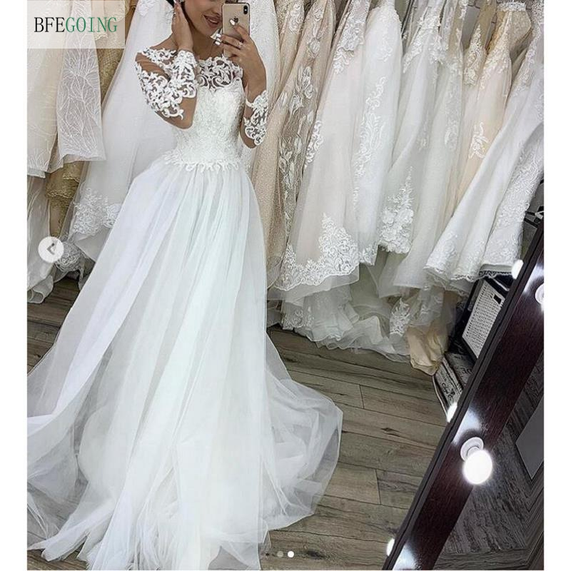White Lace Tulle Long Sleeves Floor-Length A-line Wedding Dress Chapel Train Bridal Gown Custom Made