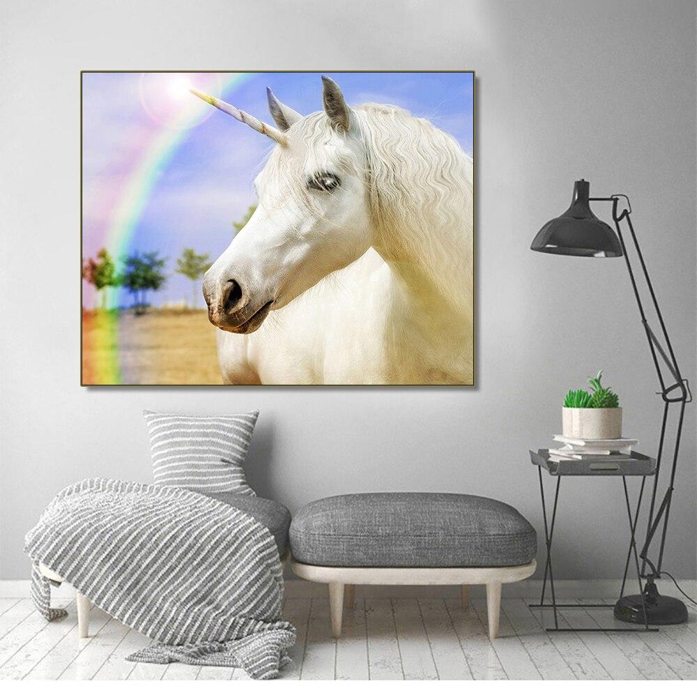 Frameless Rainbow Unicorn Fashionable Sample Canvas Oil Painting Poster Creative Wall Art Bedroom For Living Room Kid Decor