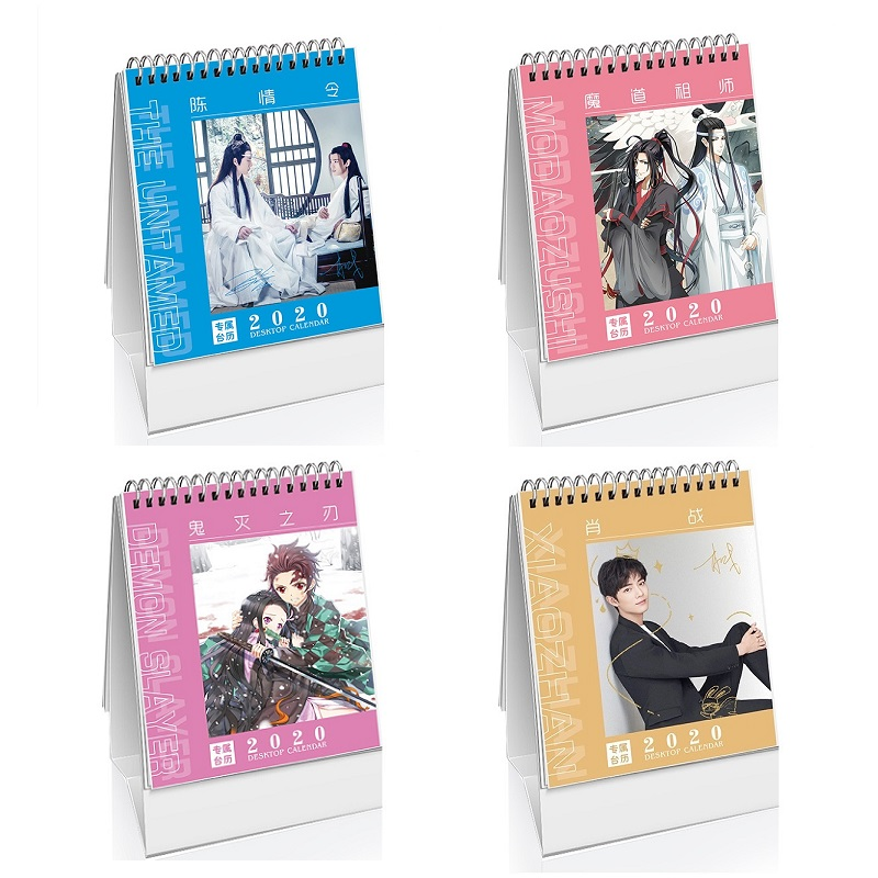 Creative 2020 Star Characters Anime Desk Calendar DIY Mini Chen Qing Ling Demon Slayer Calendars 2020.01-2012.12
