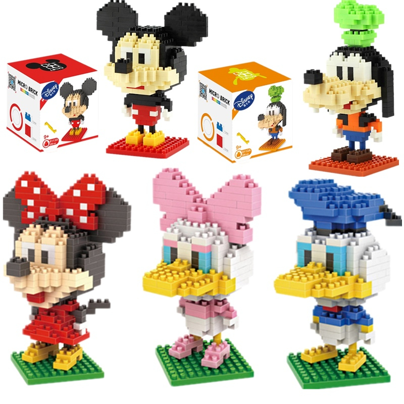 Disney Mickey Mouse Building Mini Blocks Building Brick Toys Cartoon Characters Teaching Units Children's Toy Legoeing Compliant