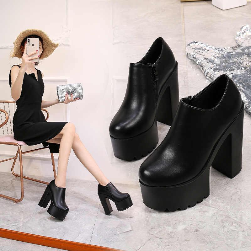Dày với Đơn Thời Trang Giày 15 Cm Giai Đoạn Sàn Diễn Siêu Cao cấp nữ Mắt Cá Chân Giày Gợi Cảm Chống Nước Nền Tảng Ngắn giày