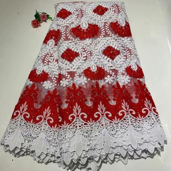 Latest fashions red white Nigerian Lace Fabrics High Quality Tulle African Lace Fabric FYIN1216 Wedding Stones French Tulle Lace