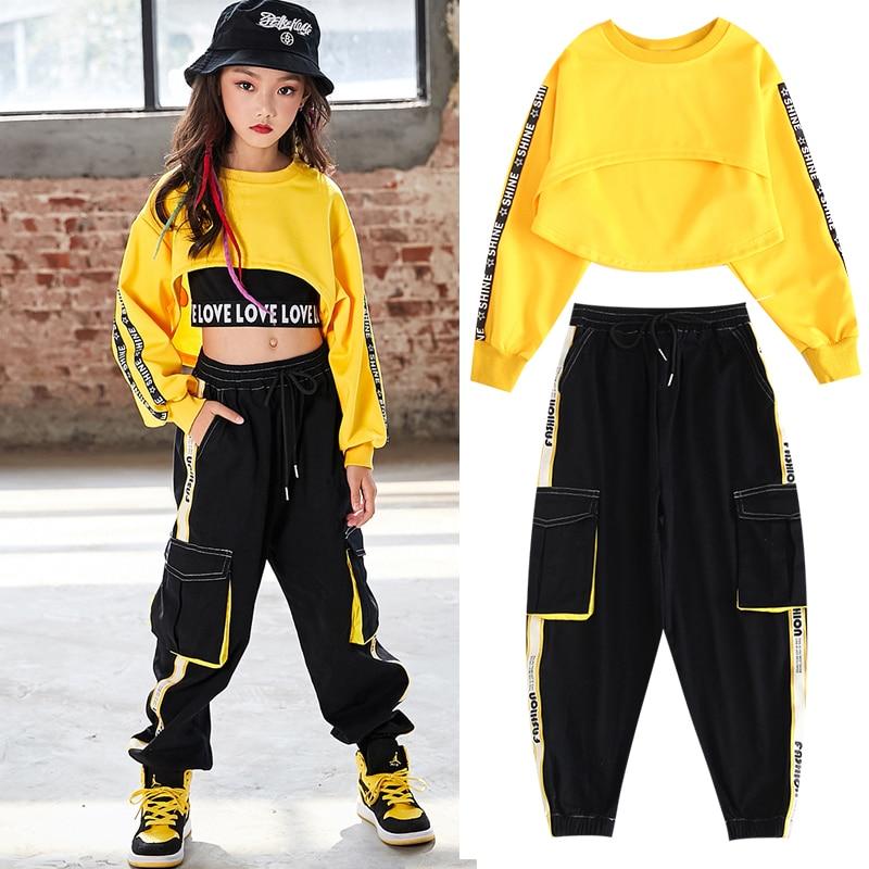 Children Hip Hop Clothes Girls Jazz Street Dance Costume Kids Sweatshirt Pants Set Ballroom Dancewear Stage Rave Clothing DQS352
