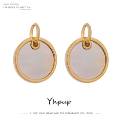 Yhpup Trendy Brand Round Natural Shell Dangle Earrings Copper Gold Geometric Earrings pendientes mujer moda 2020 Women Jewelry