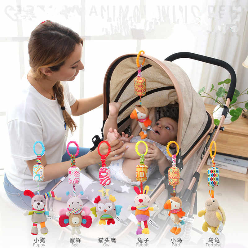 Rattle Toys For Baby Cute Puppy Bee Stroller Toy Rattles Mobile For Baby Trolley 0-12 Months Infant Bed Hanging Gift