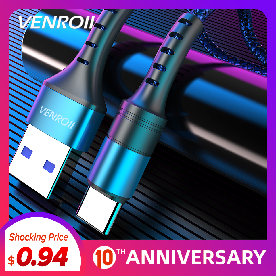 Venroii Cable USB Type C 5A Supercharge For Huawei Mate 20 P30 P20 Pro Fast Charging Phone Cord For Honor 20 10 8 V10 USBC Cabo