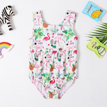 2019 nowy jednoczęściowy dziewczyny strój kąpielowy 3-8Years stroje kąpielowe dla dzieci Flamingo strój kąpielowy dla dziewczynek stroje kąpielowe 2019 jeden kawałek tanie i dobre opinie swimify Poliester Pasuje prawda na wymiar weź swój normalny rozmiar CZ1002 Cartoon