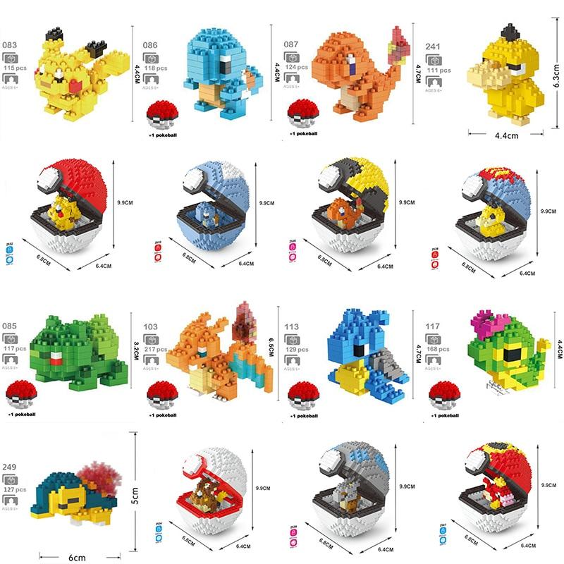 DIY Mini Animal Small Diamond Blocks Toy No Box Building Anime Pocket Monsters Pikachu Blastoise Venusaur Charizard Gyarados