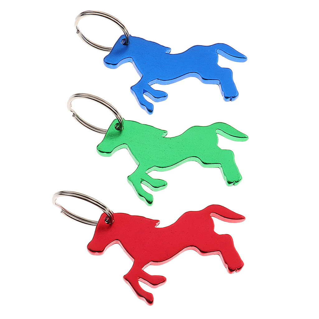 3 Pcs Horse Pattern Bottle Opener Key Ring Keychain Bag Pendent Novelty Gift