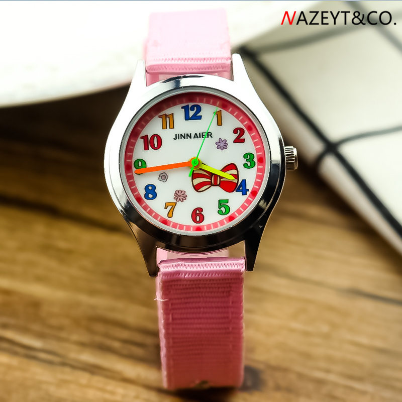 Droshipping Children New Fashion Watch Beauty Bow-knot Dial Girls Loverly Drsswatch Little Students Rosette Design Nylon Clock