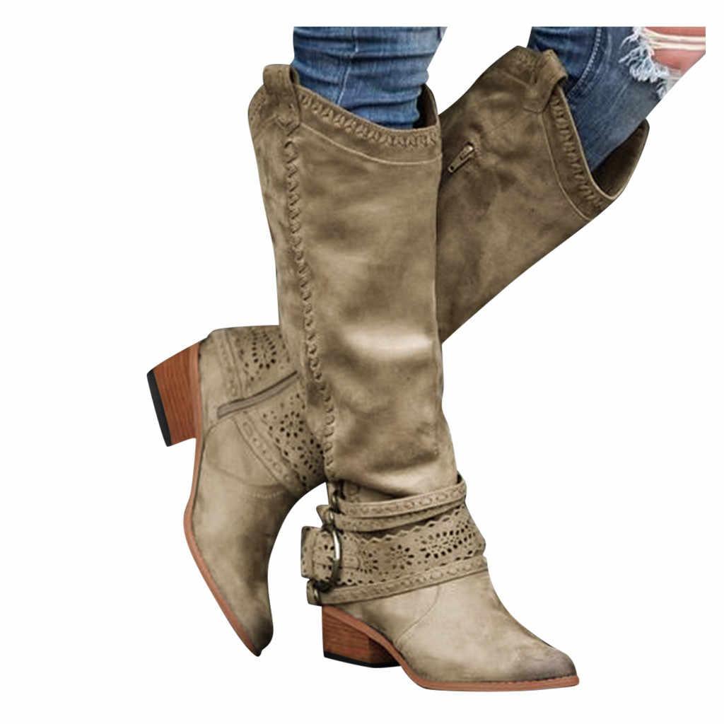 Mulheres Botas Ocidentais do vintage Inverno Apontou Toe Tubo Longo Bota Cavaleiro Fêmea Na Altura Do Joelho-Alta Sapatos de Salto Alto Grande Bezerro roma Botas Novas