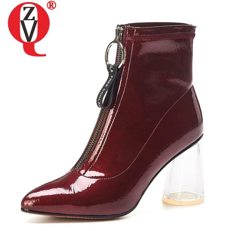 ZVQ femme en cuir verni cristal chaussures automne hiver blanc vin rouge chaussures de mariage mode bout pointu talons hauts bottines