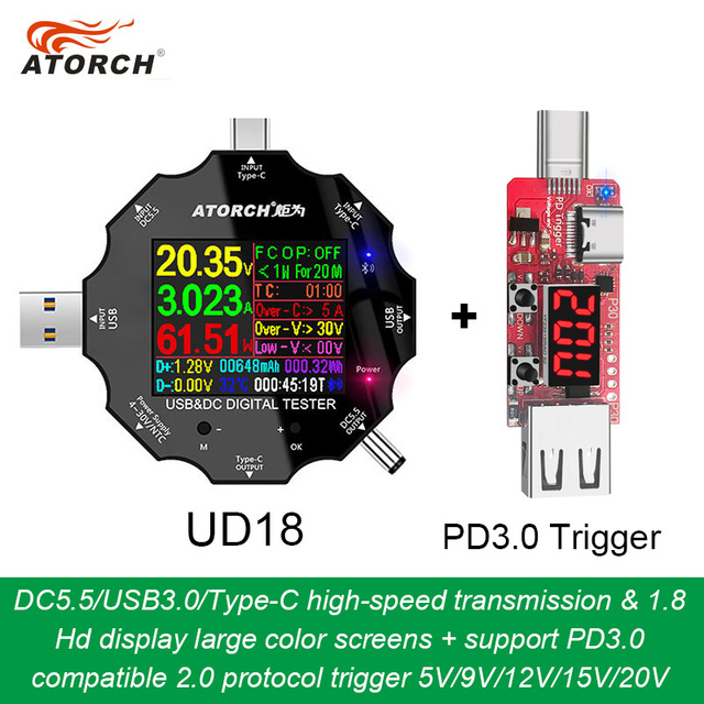 DC5.5 USB 3.0 Type C 18 in 1 USB 테스터 dc 디지털 전압계 보조베터리 충전기 전압계 + PD3.0/2.0 프로토콜 트리거