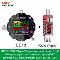 DC5.5 USB 3.0 Type-C 18 in 1 USB tester dc digital voltmeter power bank charger voltage meter +PD3.0/2.0 protocol Trigger